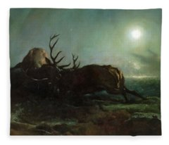 Night. Two Stags Battling By Moonlight Fleece Blanket