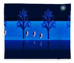 Night Walk Of The Penguins Fleece Blanket