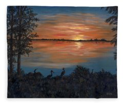 Nightfall At Loxahatchee Fleece Blanket