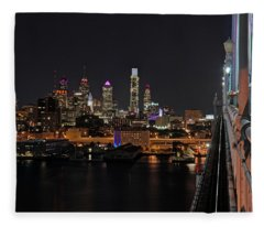 Nighttime Philly From The Ben Franklin Fleece Blanket