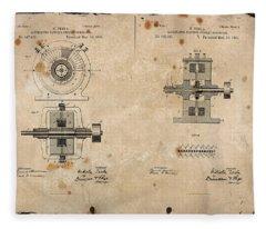 Nikola Tesla's Alternating Current Generator Patent 1891 Fleece Blanket