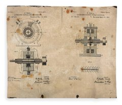 Nikola Tesla's Alternating Current Generator Patent 1891 Fleece Blanket