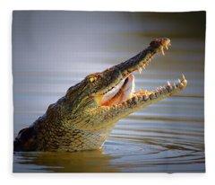 Nile Crocodile Swollowing Fish Fleece Blanket