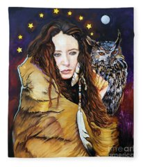 Nine Stars Woman / Owl Medicine Fleece Blanket