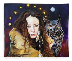 Nine Stars Woman / Owl Medicine Fleece Blanket