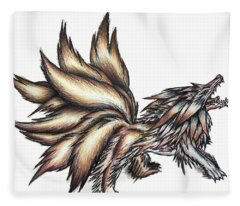 Nine Tails Wolf Demon Fleece Blanket