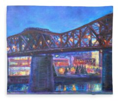City At Night Downtown Evening Scene Original Contemporary Painting For Sale Fleece Blanket