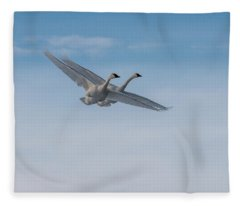 Trumpeter Swan Tandem Flight I Fleece Blanket
