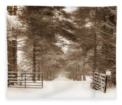 No Trespassing - Sepia Fleece Blanket