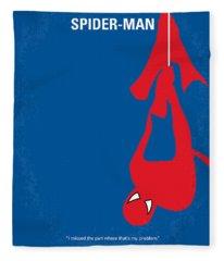 No201 My Spiderman Minimal Movie Poster Fleece Blanket