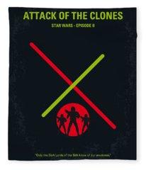 No224 My Star Wars Episode II Attack Of The Clones Minimal Movie Poster Fleece Blanket