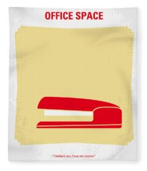 No255 My Office Space Minimal Movie Poster Fleece Blanket