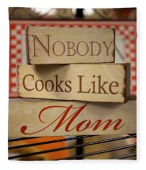 Nobody Cooks Like Mom - Square Fleece Blanket