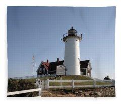 Nobska Lighthouse On Cape Cod At Woods Hole Massachusetts Fleece Blanket