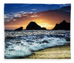Norcal Sunset On Jenner Beach Fleece Blanket