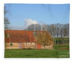 Normandy Storm Damaged Barn Fleece Blanket