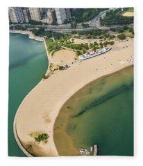 North Avenue Beach And Castaways Restaurant Fleece Blanket