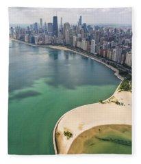 North Avenue Beach Chicago Aerial Fleece Blanket