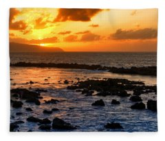North Shore Sunset Fleece Blanket