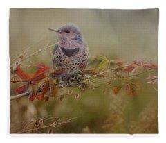 Northern Flicker In Fall Colors Fleece Blanket
