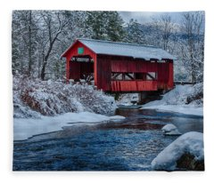Northfield Vermont Covered Bridge Fleece Blanket
