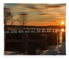 Northport New York Winter Sunset Fleece Blanket