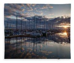 Northwest Marina Sunset Sunstar Fleece Blanket