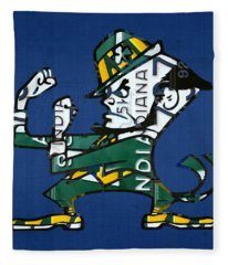 Notre Dame Fighting Irish Leprechaun Vintage Indiana License Plate Art  Fleece Blanket