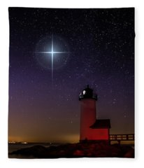 Star Over Annisquam Lighthouse Fleece Blanket
