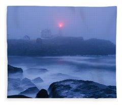 Nubble Light In Foggy Dawn Fleece Blanket
