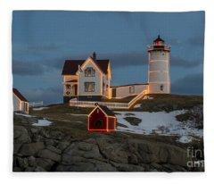 Nubble Lighthouse At Christmas Fleece Blanket