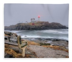 Nubble Lighthouse View Fleece Blanket