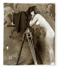 Nude In High Heel Shoes With Studio Camera Circa 1920 Fleece Blanket