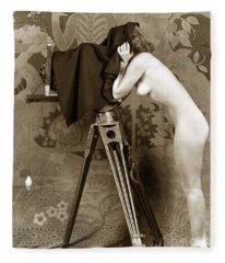 Nude In High Heel Shoes With Studio Camera Circa 1920 Fleece Blanket