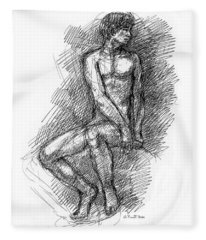 Nude Male Sketches 1 Fleece Blanket