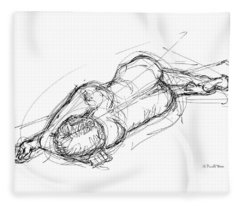 Nude Male Sketches 4 Fleece Blanket