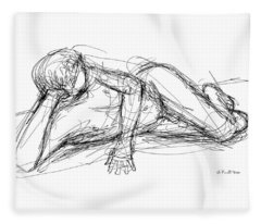 Nude Male Sketches 5 Fleece Blanket