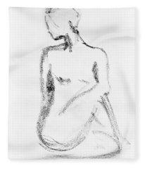 Nude Model Gesture Vi Fleece Blanket