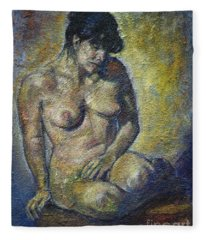 Sad - Nude Woman Fleece Blanket