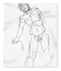 Nude_male_drawing_30 Fleece Blanket
