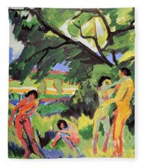Nudes Playing Under Tree Fleece Blanket