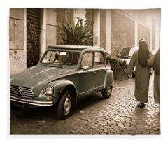 Nuns With Vintage Car Fleece Blanket