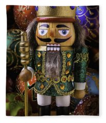 Nutcracker With Ornaments Fleece Blanket