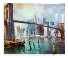 Ny City Brooklyn Bridge II Fleece Blanket