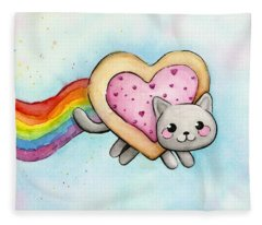 Nyan Cat Valentine Heart Fleece Blanket