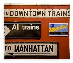 Nyc Subway Signs Fleece Blanket