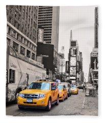 Nyc Yellow Cabs Fleece Blanket