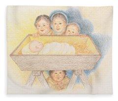 O Come Little Children - Christmas Card Fleece Blanket
