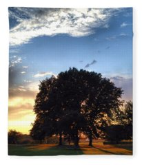 Oak Tree At The Magic Hour Fleece Blanket