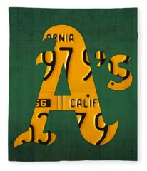Oakland Athletics Vintage Baseball Logo License Plate Art Fleece Blanket